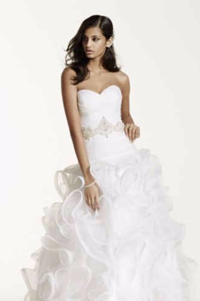 Davids Bridal Zac Posen Off the Shoulder Wedding Dress