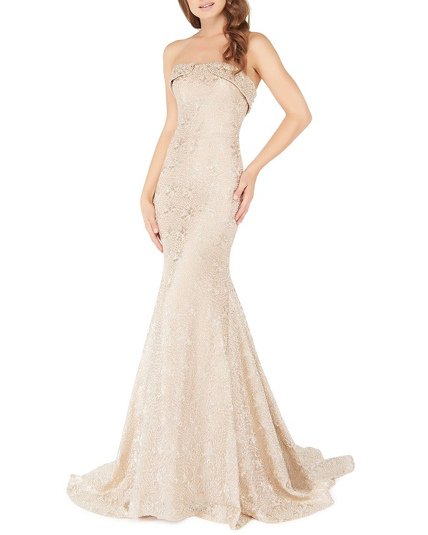 Metallic Lace Strapless Blouson Gown