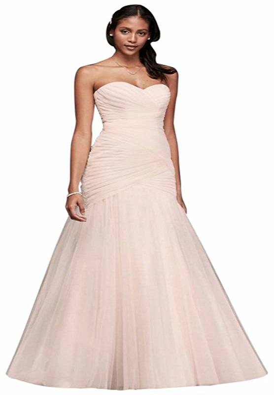 Strapless Lace Up Tulle Wedding Dress in Whisper Pink