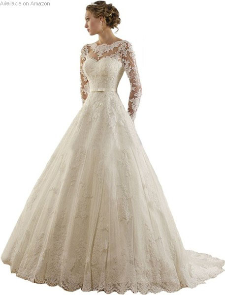Jewel Lace Long Sleeve Wedding Dress
