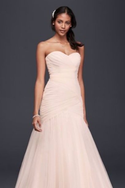 Davids Bridal Strapless Lace Up Tulle Wedding Dress in Whisper Pink