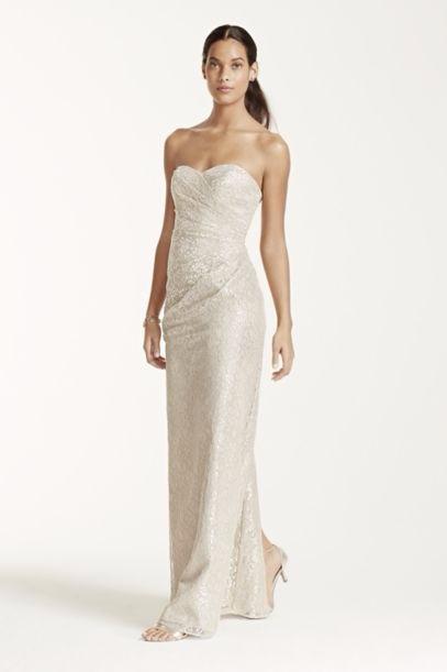 Nordstrom Metallic Lace Strapless Blouson Gown