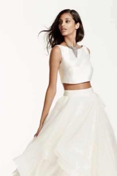 Davids Bridal Two-Piece Crop Top Ball Gown