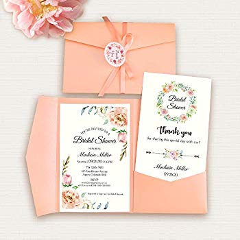 Pink Floral Wedding Invitation Kit