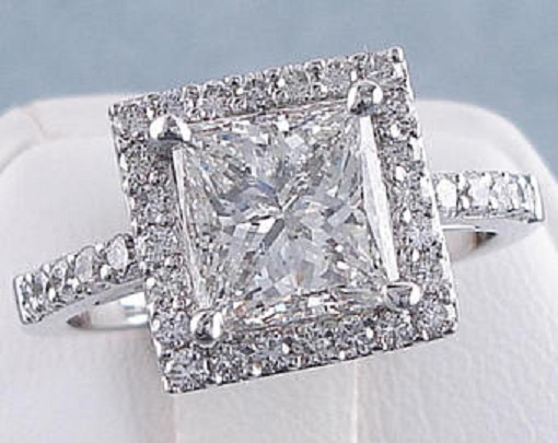 Etsy Princess Cut Diamond Engagement Ring with Side Stones