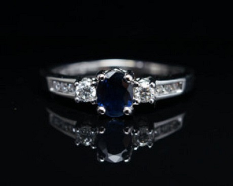 Etsy Vintage Oval Diamond And Sapphire Engagement Ring