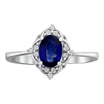 Vintage Oval Diamond And Sapphire Engagement Ring