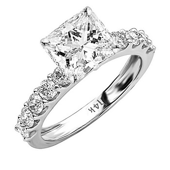 Princess Cut Diamond Engagement Ring with Side Stones