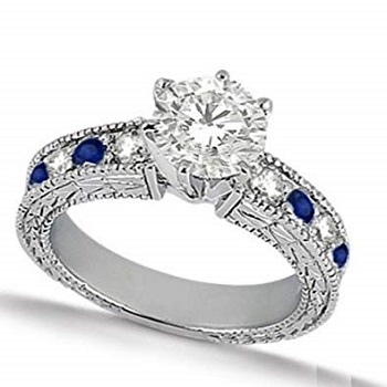 White Gold Vintage Round Diamond with Sapphire Band