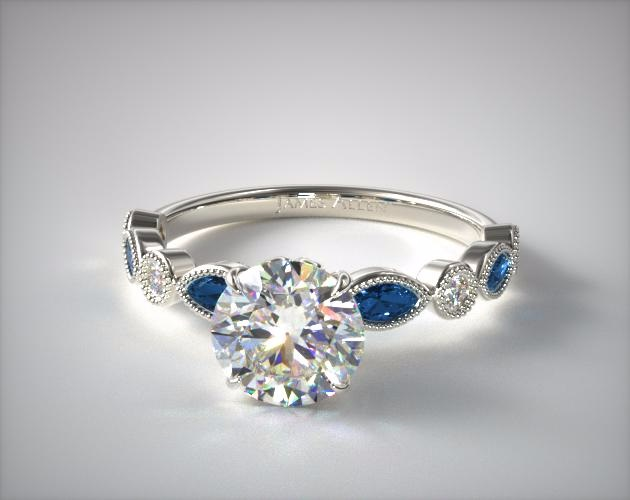 James Allen White Gold Vintage Round Diamond with Sapphire Band