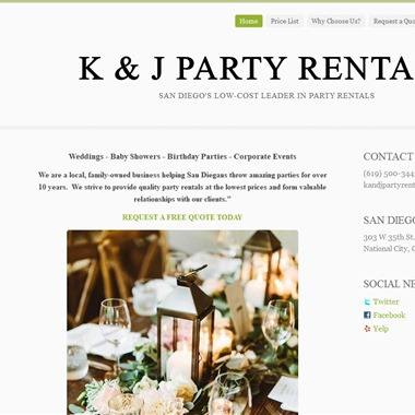 K & J Party Rentals wedding vendor preview