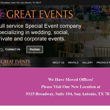Great Events and Rentals wedding vendor preview