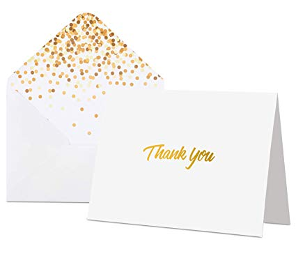 100 Thank You Cards with Envelopes - Thank You Notes, White & Gold Foil