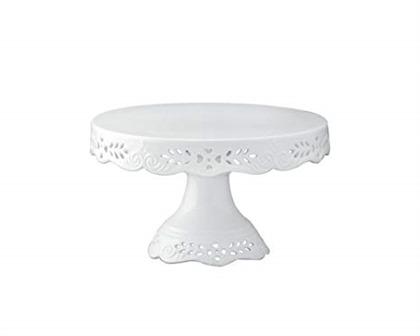 Gracie China 8-Inch Diameter x 4.5-Inch High Victorian Rose Fine Porcelain Round Pedestal Cake Stand Off White