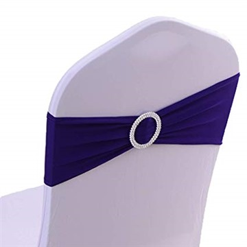 50PCS Spandex Chair Sashes Bows Elastic Chair Bands with Buckle Slider