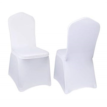 EMART Set of 12pcs White Color Polyester Spandex Banquet Wedding Party Chair Covers