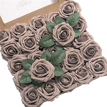 Ling's moment Artificial Flowers 25pcs Real Looking Taupe Fake Roses