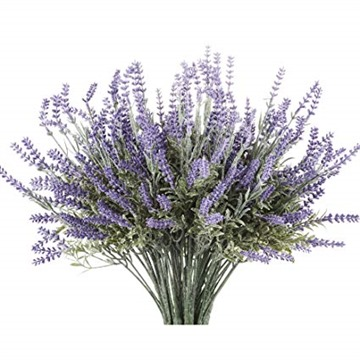 Butterfly Craze Artificial Lavender Plant with Silk Flowers for Wedding Decor and Table Centerpieces - 4 Piece Bundle