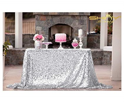 ShiDianYi 50''x72''Silver Sequin Tablecloth, Wedding Table Cloth