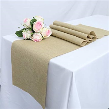 TRLYC 108 Inch Long Natural jute Country Vintage Burlap Table Runner