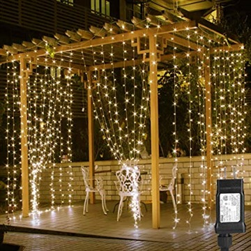 LE 306 LED Curtain Lights, 9.8 x 9.8 ft, 8 Modes Plug in Fairy String Lights, Warm White