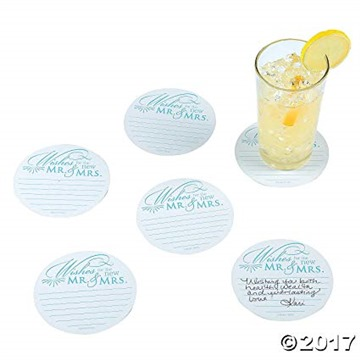Wedding Wishes Advice Coasters for Wedding Receptions and Bridal Showers (100)