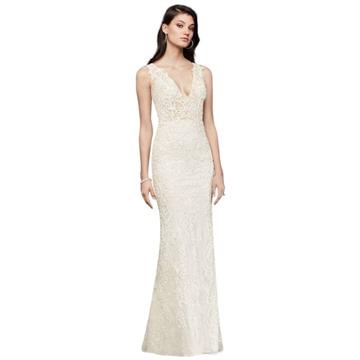 Plunging Illusion Bodice Lace Wedding Dress Style SWG772