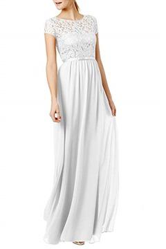 REPHYLLIS Women's Lace Cap Sleeve Evening Party Maxi Wedding Dress