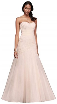 Strapless Ruched Mermaid Tulle Wedding Dress Style WG3791