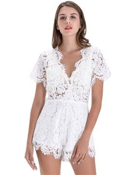Women Deep V Neck Lace Floral Short Sleeves Romper