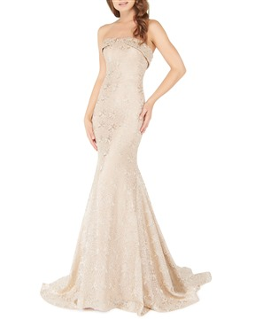 Mac Duggal Couture Strapless Soft Metallic Lace Gold Dust Gown