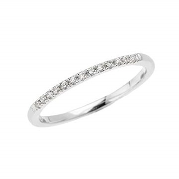 14k White Gold Dainty Diamond Stackable Ring