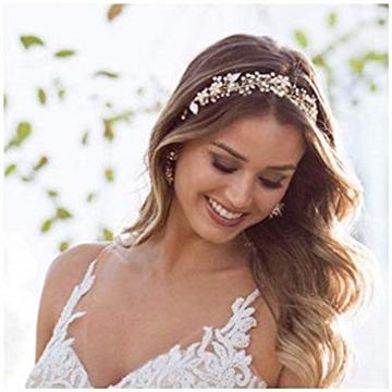 SWEETV Gold Bridal Headband Bohemian Headpiece Crystal Pearl Hair Vine Flower Halo Wedding Hair Accessories