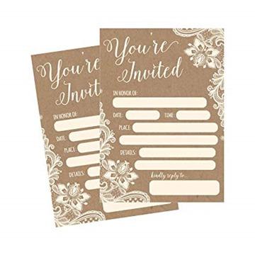 50 Fill In Invitations, Burlap and Lace, Kraft, Wedding Invitations