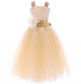 FAYBOX Pageant Wedding Flower Girl Dress Crossed Back Bow Feather Sash Fluffy