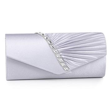 Damara Womens Pleated Crystal-Studded Satin Handbag Evening Clutch