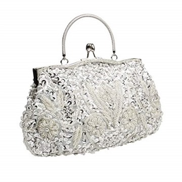 BMC Silver Beaded Sequin Design Metal Frame Kissing Lock Satin Clasp Interior Evening Clutch - Exuding Eloquence Collection