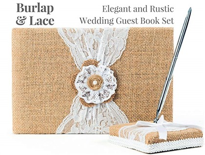 Rustic Wedding Guest Book Made of Burlap and Lace