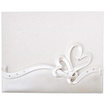 Fashioncraft Elegant White Interlocking Hearts Design Wedding Guest Book (50 pages)