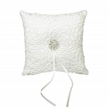 CJESLNA Wedding Ring Satin Diamante Flower Pillow, 15cmx15cm, White
