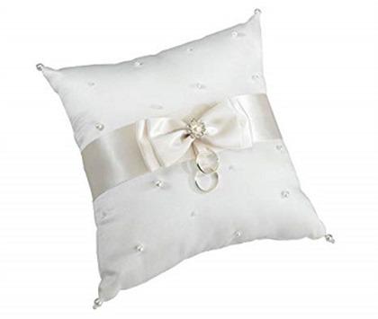 Lillian Rose Classic Ivory Satin Pearl Wedding Ring Pillow