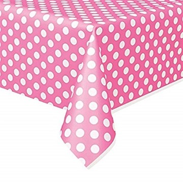 "Polka Dot Plastic Tablecloth, 108"" x 54"", Hot Pink"