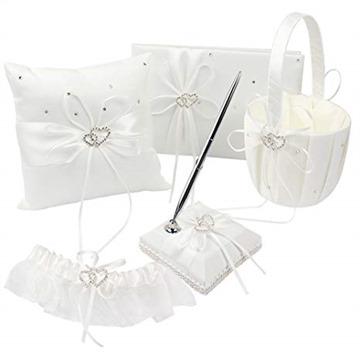 Our Warm 1 Wedding Guest Book + 1 Pen Set + 1 Flower Basket + 1 Ring Bearer Pillow + 1 Garter Ivory Cover