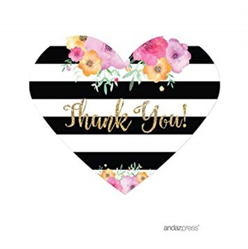 Andaz Press Floral Gold Glitter Print Wedding Collection, Mini Heart Label Stickers, Thank You, 75-Pack