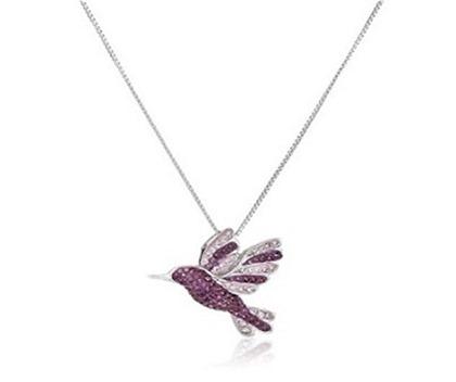 "Sterling Silver Hummingbird Swarovski Elements Pendant Necklace, 18"""