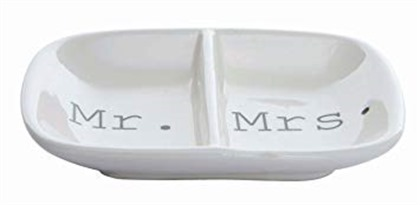 """Creative Co-Op Ceramic """"Mr. & Mrs."""" Two Section Dish, White"""