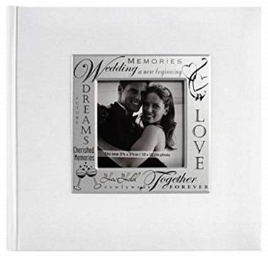 MBI 9x9 Inch Fabric Expressions Wedding Theme Album, White (846616)