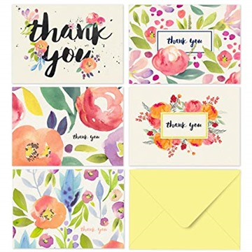 40 Thank You Cards with Envelopes - Floral Watercolor with Yellow Envelopes
