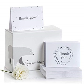 Thank You Cards–2 Designs of Blank Thank You Notes and Self-Seal Envelopes