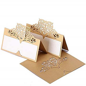60pcs Lace Wedding Place Cards Personalised Table Name Reception Decoration with Biege-gold Lace